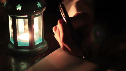 Man Writes A Letter When The Lamp 2 Footage