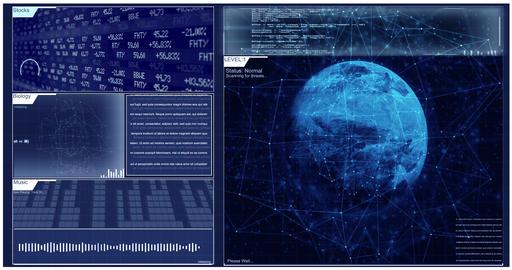 Futuristic Blue Digital Interface for Corner Pin Sci Fi Tracking Shots Animation