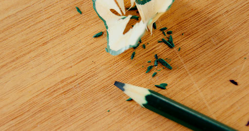 Close-up of green color pencil with pencil shaving Footage