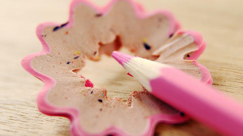 Close-up of pink color pencil with pencil shaving ライブ動画