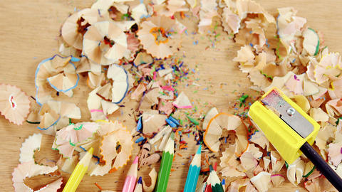 Close-up of various colored pencil with shavings Footage