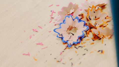Bunch of colored pencil with shavings Footage
