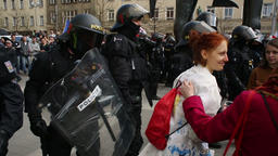 People activist protest against extremists. demonstration, police oversees Footage