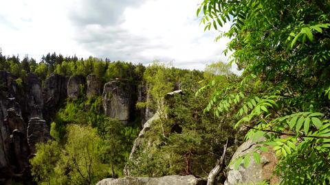 Lookout from observation point Prachovske skaly (Prachov Rocks) Footage