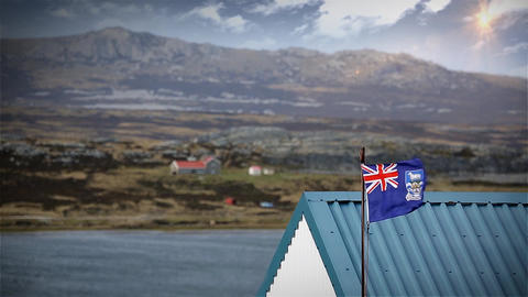 English Flag In Malvinas Islands Footage