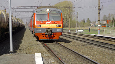 Suburban train arriving Footage