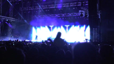 Many people enjoying music at concert, silhouettes of audience watching show Footage