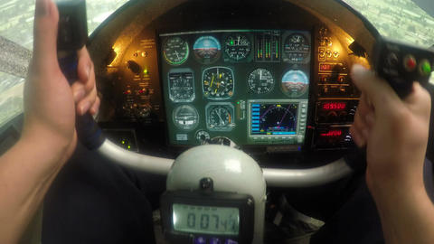 Male hands controlling flight simulator, beginner pilot practicing at school Footage