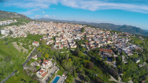 Fantastic green nature, mountain landscape around cozy resort town in Cyprus Footage