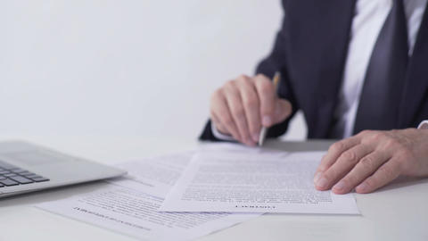 Company president reading contract, signing important cooperation agreement Footage