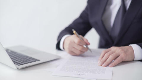 Enterprise leader signing sales contract, lucrative deal with business partner Footage