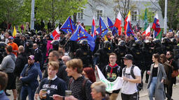March of extremists, suppression of democracy, police, against European Union Footage