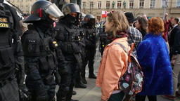 Europe girl activist protest against extremists. demonstration Footage