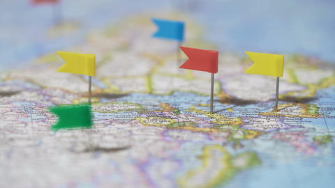 World tour route marked with pins on map, travel destinations, active lifestyle Footage