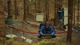 Scientific measurement of respiration soil, modern technology, scientist men Footage