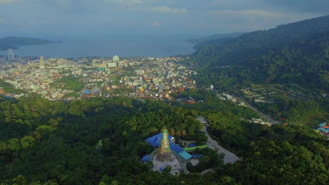 Aerial, 4K Landscape View of Patong Town In Phuket South of Thailand 画像