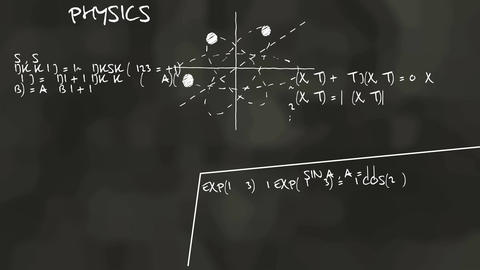 Scientific calculations on the blackboard Animation