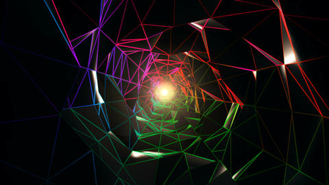 Colorful Polygonal Tunnel VJ Loop CG動画素材