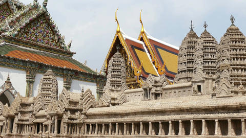 Ancient Wat Phra Kaew Temple Bangkok 4k Footage