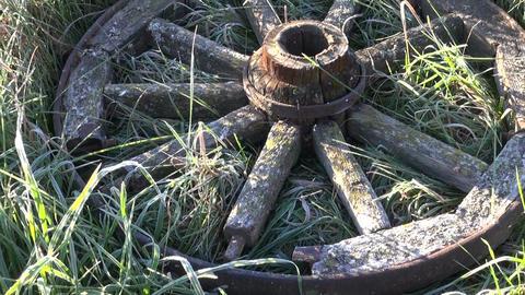 Frosty meadow an old wooden wheel Footage
