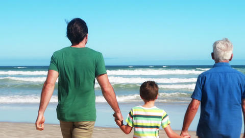 Family holdings hands and walking towards the sea Live Action
