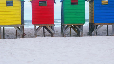 Colorful beach hut at the beach Live Action