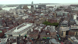 Great Britain England Liverpool 020 city center and Mersey River from above Footage