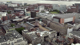Great Britain England Liverpool 021 city with Mersey riverbank from above Footage