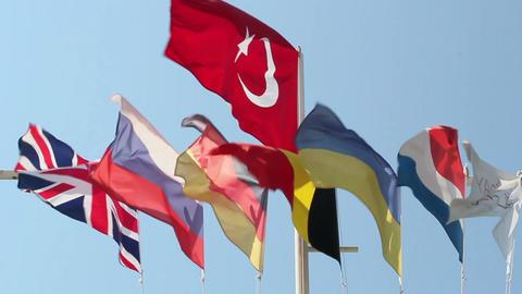 Flags Near Hotel Turkey Footage