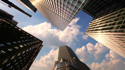 Skyscrapers with Running Clouds 영상물