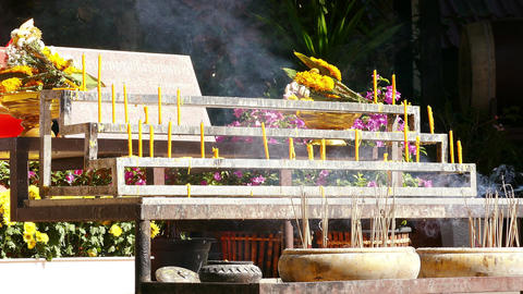 Buddhist Temple Flame Candles 4k Footage