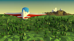 Low poly landscape with airplane CG動画素材