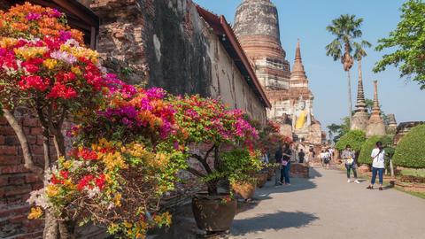 Mongkol Wat Aytthaya Thailand Time Lapse Zoom 4k Animation