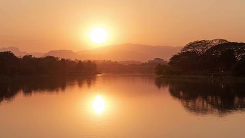River Sunset Reflection Zoom 4k Animation
