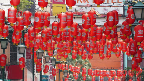 Red Chinese Lanterns Street 4k Footage
