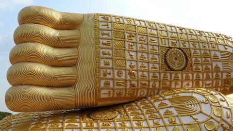 Sacred Buddha Feet Den Chai Thailand Footage