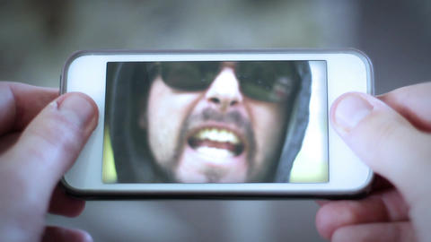 Cyber Bullying concept - angry mean bully yells at person... Stock Video Footage