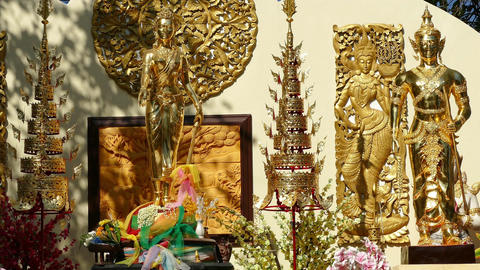 Traditional Decoration Buddhist Temple Wat Phrathat Doi Suthep 4k Footage