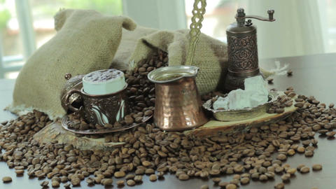 Turkish Coffee cup and saucer on a wooden table top view Filmmaterial