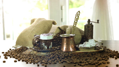 Turkish Coffee cup and saucer on a wooden table top view 画像