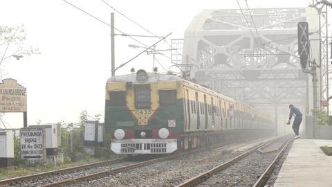Train Bridge India Morning 4k Footage