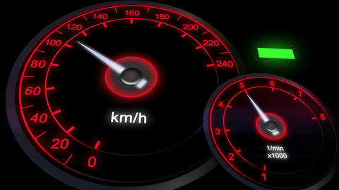 close up illuminated Revving Speedometer and Tachometer, car dashboard Footage