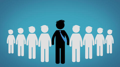 The concept of the Leader of a group, Pictogram over blue background (CEO) Animation