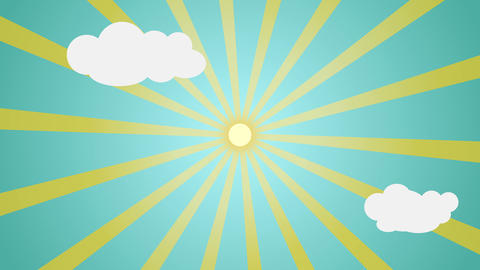Cartoon sun light over blue sky with clouds Background for your text or logo Animation