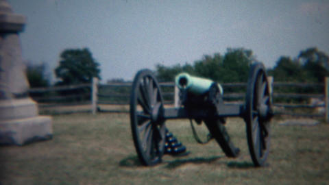 1968: Civil war national military monument sign and cannon Footage