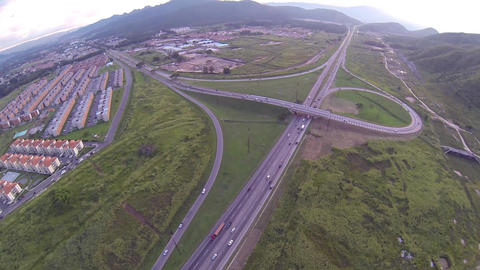 Aerial Highway Traffic 02 stock footage