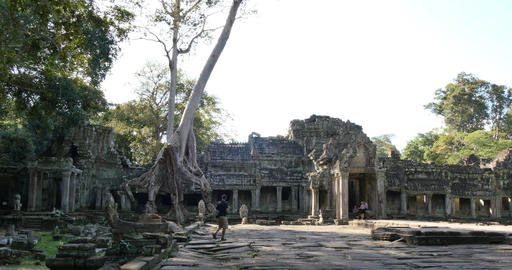 Girls playing Cambodia Angkor Wat temple ancient ruin buildings Preah Khan Footage