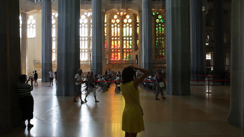 Tourist photographing Sagrada Familia indoor Footage