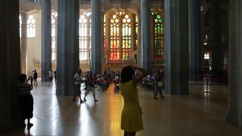 Tourist photographing Sagrada Familia indoor Footage