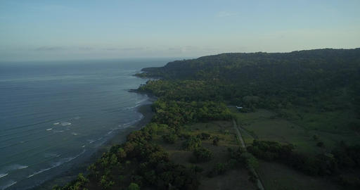Aerial view Of Puerto Jiménez Coastline In Costa Rica Footage